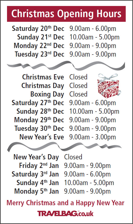 Travelbag Christmas 2014 Opening Times