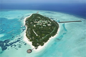 Aerial view of the Meeru Island Resort