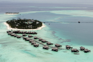 Aerial view of the Conrad Maldives